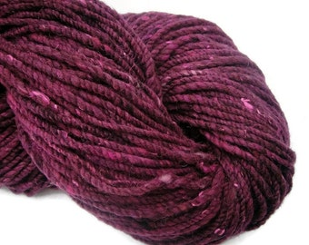 Hand  dyed and hand spun two ply bulky yarn, 160 yards, for knitting or crocheting