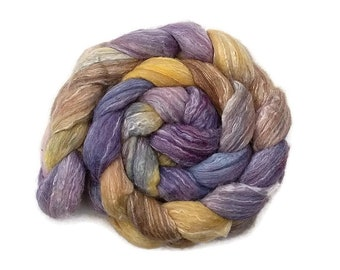 Hand painted/hand dyed merino wool, silk and bamboo roving, top 4 oz, fiber for spinning, felting, nuno felting, needle felting