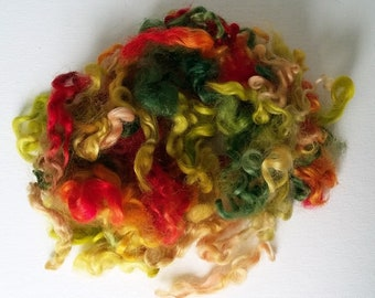 "Hand dyed Leicester wool locks, curls, 4-5"" for spinning, knitting, felting batt making and art yarn, 1 oz"