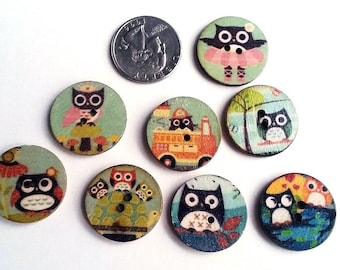 Round owl painted wooden buttons with 2 holes for knitting, crocheting sewing scrapbooking and other crafts, 8 pcs
