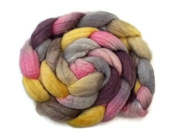 Hand dyed/hand painted BFL wool with silk roving, top 4 oz, fiber for spinning, felting, nuno felting, needle felting