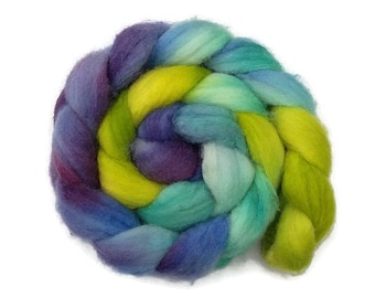 Hand dyed/hand painted BFL wool roving, top 4 oz, fiber for spinning, felting, nuno felting, needle felting