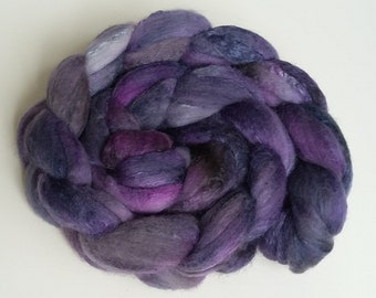 Hand dyed/hand painted wool with 50% silk roving, top 4 oz, fiber for spinning, felting, nuno felting, needle felting