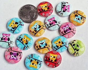 Small, owl painted wooden buttons with 2 holes for knitting, crocheting sewing scrapbooking and other crafts, 8 pcs