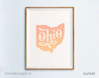 Ohio print - Ohio art - Ohio poster - Ohio wall art