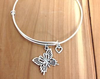 Adjustable Bangle Bracelet - Butterfly Charm