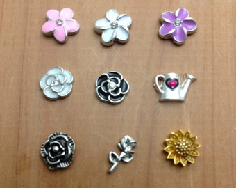 Assorted Flower Floating Charms for Memory Lockets  - Choose One -
