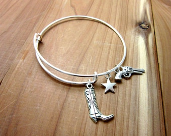 Charm Bracelet - Adjustable Bangle - Expandable Bracelet - Cowgirl Jewelry - Cowboy Boot, Star and Gun Charms ADULT & CHILD size available
