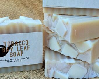 Tobacco Bay Leaf Handmade Soap Aloe Vera and Avocado Oil