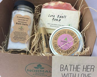 Bathe Her with Love - Gift Box of natural, handmade soap, lip balm, salve and bath salts