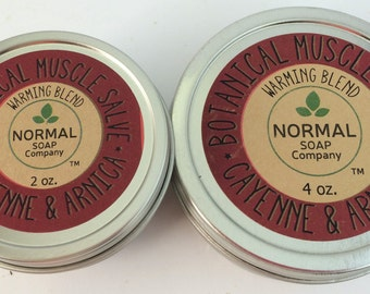 Botanical Muscle Salve 2 & 4 oz tin featuring Organic Botanicals infused in Beneficial Oils, Muscle Salve