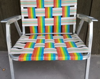 Retro Aluminum Rainbow Folding Lawn Chair Vintage Stripe Webbing White  Purple Orange Aqua 1970s Or 1980s Beach Patio Deck Furniture