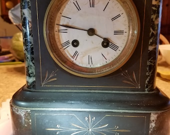 Antique French mantel clock slate marble black WORKS