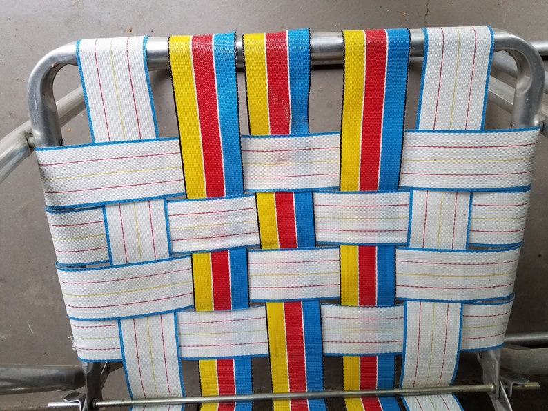 Matching pair of folding webbed lawn chairs aluminum retro patio deck vintage set of 2 real aqua blue