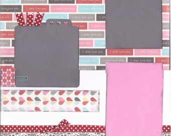 You + Me, 2 Page 12x12 Scrapbook Layout, Premade Scrapbook Layout, Ready to Assemble Layout