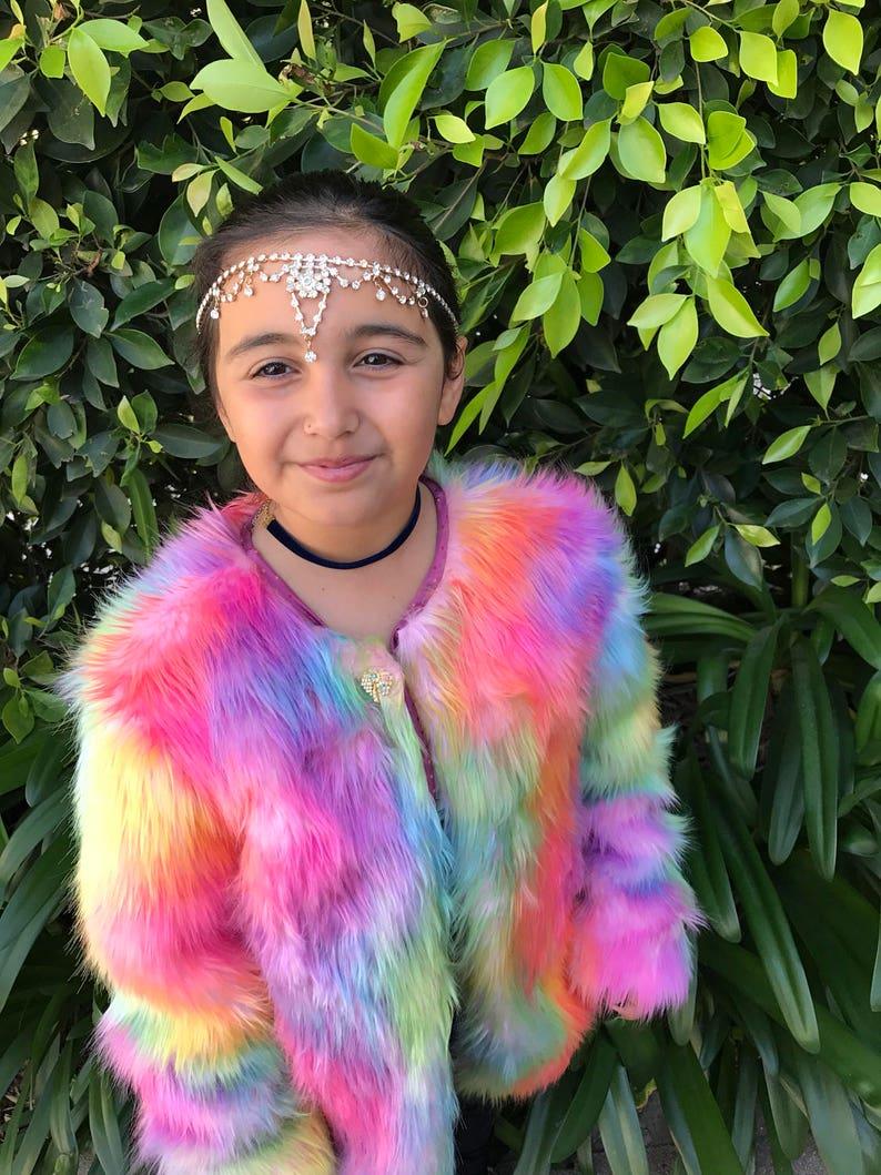 299dbad2f741 Rainbow kids unicron faux fur jacket rainbow coat festival
