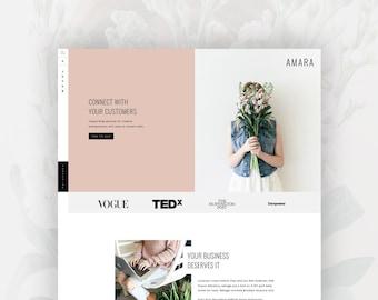 Feminine Wordpress Theme for Female Entrepreneurs | Genesis Child Theme | eCommerce | Portfolio - Amara
