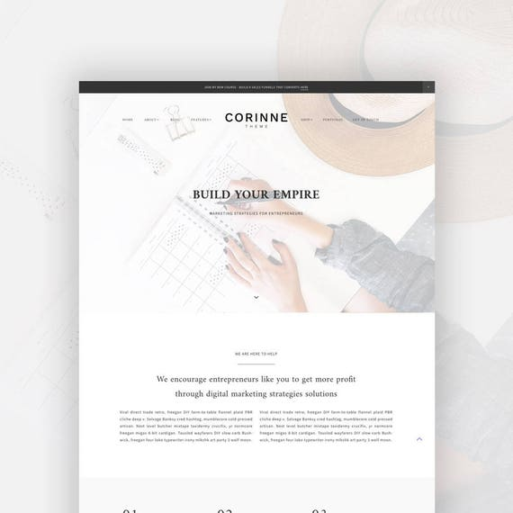 Feminine Wordpress Theme for Female Entrepreneurs | Genesis Child Theme | eCommerce | Portfolio Corinne