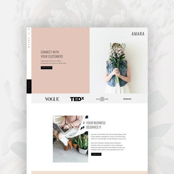 Feminine Wordpress Theme for Female Entrepreneurs | Genesis Child Theme | eCommerce | Portfolio Amara