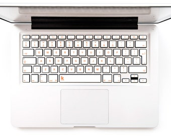 Macbook Decal White Keyboard with orange letters Laptop Keyboard Sticker Macbook Mac Lenovo Asus Sony Acer Dell HP # White with Orange