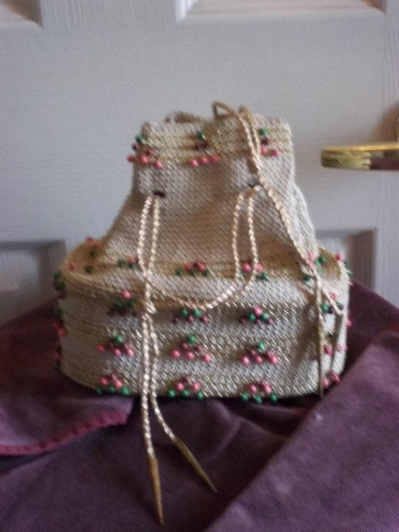 1940's Beaded Crochet String Draw Purse