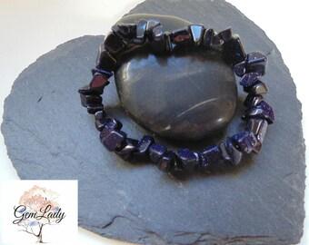 Blue Goldstone Chip Bead Beaded Stretch Bracelet ~ Gemstone Crystal Healing ~ Handmade
