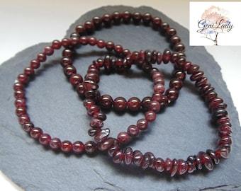 Garnet Chip, 4mm or 6mm Bead Beaded Stretch Bracelet ~ Gemstone Crystal Healing ~ Handmade ~ January Birthstone Gift