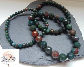 Bloodstone Heliotrope 4mm 6mm or 8mm Round Bead Beaded Stretch Bracelet ~ Gemstone Crystal Healing Reiki Infused ~ Handmade