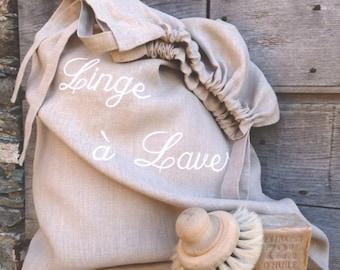 Linen laundry bag. Customizable.