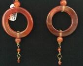 Earrings ~ Carnelian Hoop, Exotic, Boho, Long! Artist: Teresa Bradford-Cole
