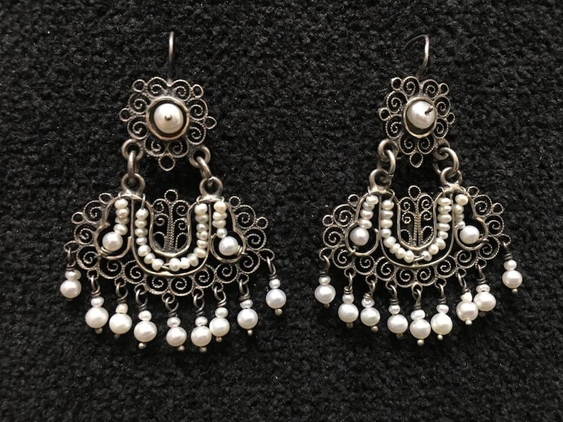 7ce7accb8 Earrings Pearls Sterling Silver Filigree Artist: Federico | Etsy
