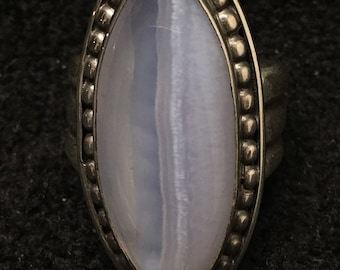 Ring ~ Blue Lace Agate Artist: John Binzley  Marquise Shape Blue Lace Agate Cabochon Heavy Gage Sterling Silver