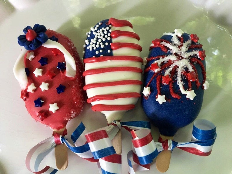 Christmas Themed Cakesicles.Flags Fireworks And Flipflops Cakesicles Cake Pops For The Fourth Of July 6 Or 12