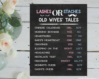 Instant 'Old Wives' Tale Lashes OR Staches' CHALKBOARD Printable Baby Shower Game Gender Guessing Board Boy or Girl