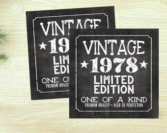 Instant VINTAGE 1978 Limted Edition Aged to Perfection Printable Tag or Sticker 3x3 Party Printable Favor Tag Chalkboard Fourties