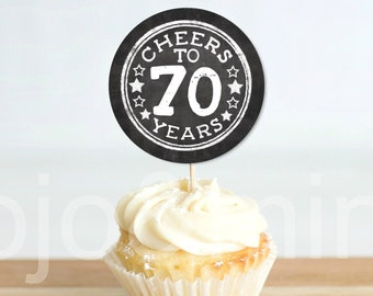 C037 1949 Vintage Aged to Perfection Cupcake Toppers 2.5 2 Cupcake Toppers 70th Birthday Cupcake Toppers Printable Instant Download