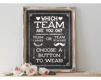 Instant 'Which Team are you on? LASHES or STACHES' Chalkboard Printable Baby Shower Game Guessing Sign Boy or Girl Button Sign