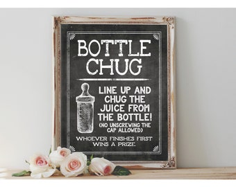 Instant 'BOTTLE CHUG' Printable 8x10, 11x14 Sign Baby Shower Game Digital File Chalkboard Drink From the Baby Bottle
