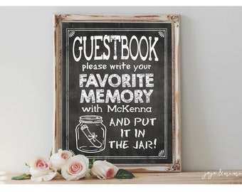 Personalized 'Please write your favorite memory' Printable Graduation Bon Voyage Memory Jar Chalkboard Sign Size Options with Name