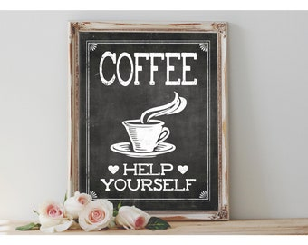 Instant 'COFFEE Help Yourself' Printable Coffee Bar Sign Wedding OR Event 8x10, 11X14 Party Printable Chalkboard