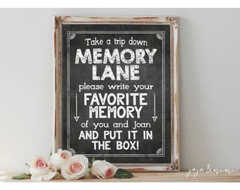 Personalized MEMORY LANE Printable Digital Chalkboard Leave your favorite memory in the box Sign Size Options
