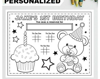PERSONALIZED TEDDY BEAR Happy Birthday Printable Placemat Activity Teddy Bear Coloring Page Kids Birthday Party Placemat First Birthday