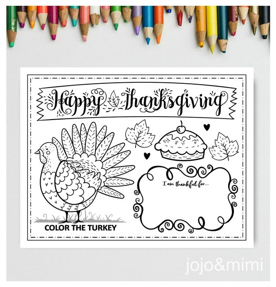 THANKSGIVING Printable Placemat Activity Fall Coloring Page