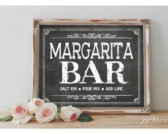 INSTANT 'MARGARITA BAR Salt Rim, Pour Mix, Add Lime' Printable 8x10, 11X14 Sign Chalkboard Fiesta Wedding or Event Decor Margaritas