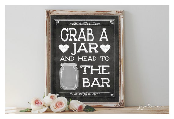 photograph regarding Head in a Jar Printable named Fast Seize a Jar and Thoughts in the direction of the Bar Printable 8x10, 11x14 Celebration Indicator Marriage ceremony Bash Printable Chalkboard