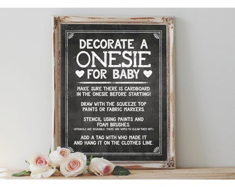 Instant 'Decorate a ONESIE for baby' Printable 8x10, 11x14 Sign Baby Shower Digital File Chalkboard Onesie Decorating Instruction Sign