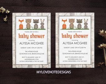 Baby Shower Invitation Woodland Animal Theme Printable 5x7 Invite Digital Gender Neutral Digital Annoucement and Invititaion