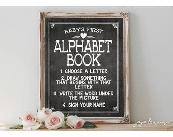 Instant 'Baby's First Alphabet Book' Printable Baby Shower First Birthday Coloring Activity Alphabet Book DIY ABC Book Chalkboard