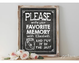 Personalized 'Please write your favorite memory with NAME and put it in the jar' Printable Graduation Bon Voyage Memory Jar Chalkboard Sign