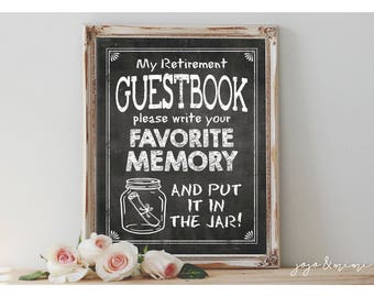 Instant Retirement Guestbook Memory Jar Printable Retirement Party Chalkboard Memories Sign Size Options